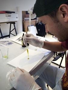Emulsionado taller de Cianotipo Tipia Lab