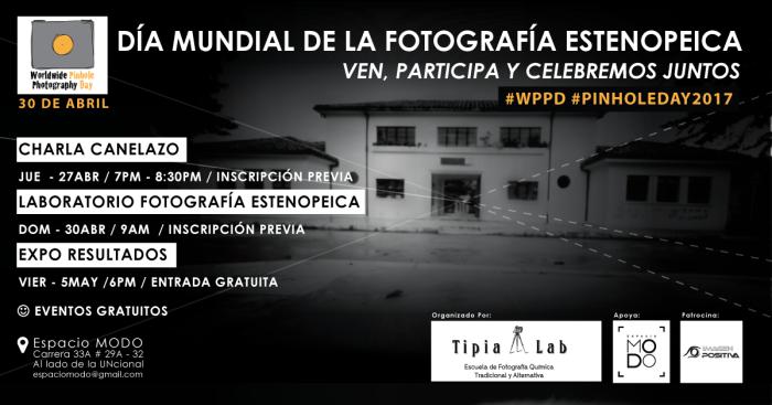 Celebración dia mundial de la fotografia estenopeica pinhole day, 30 de bril Espacio Modo, Tipia Lab escuela de fotografia química y alternativa