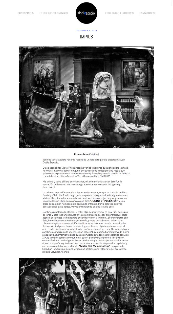 Mauricio Toro Goya artista chileno, Fotolibro Impius, Ambrotipos, Analisis de Tipia Lab escuela de Fotografia quimica tradicional y alternativa Katalina Fuentes y Mario Nieto para Doble